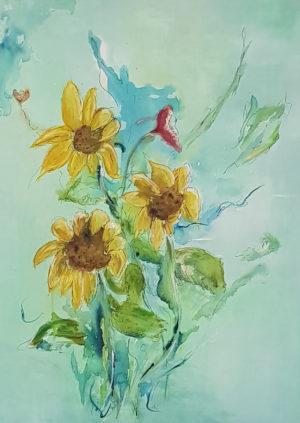 Sonnenblumen Postkarten A6